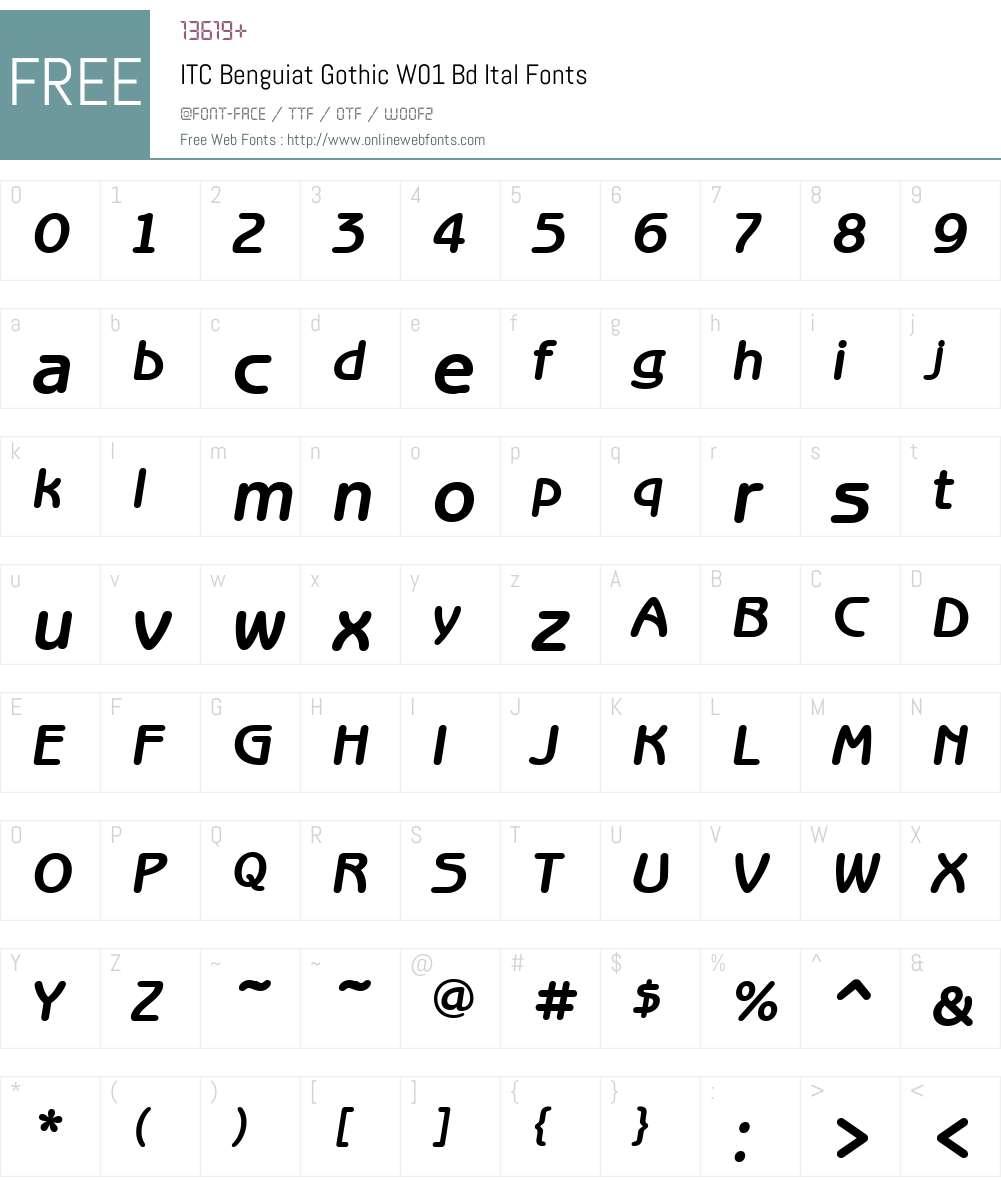 ITCBenguiatGothicW01-BdItal Font Screenshots