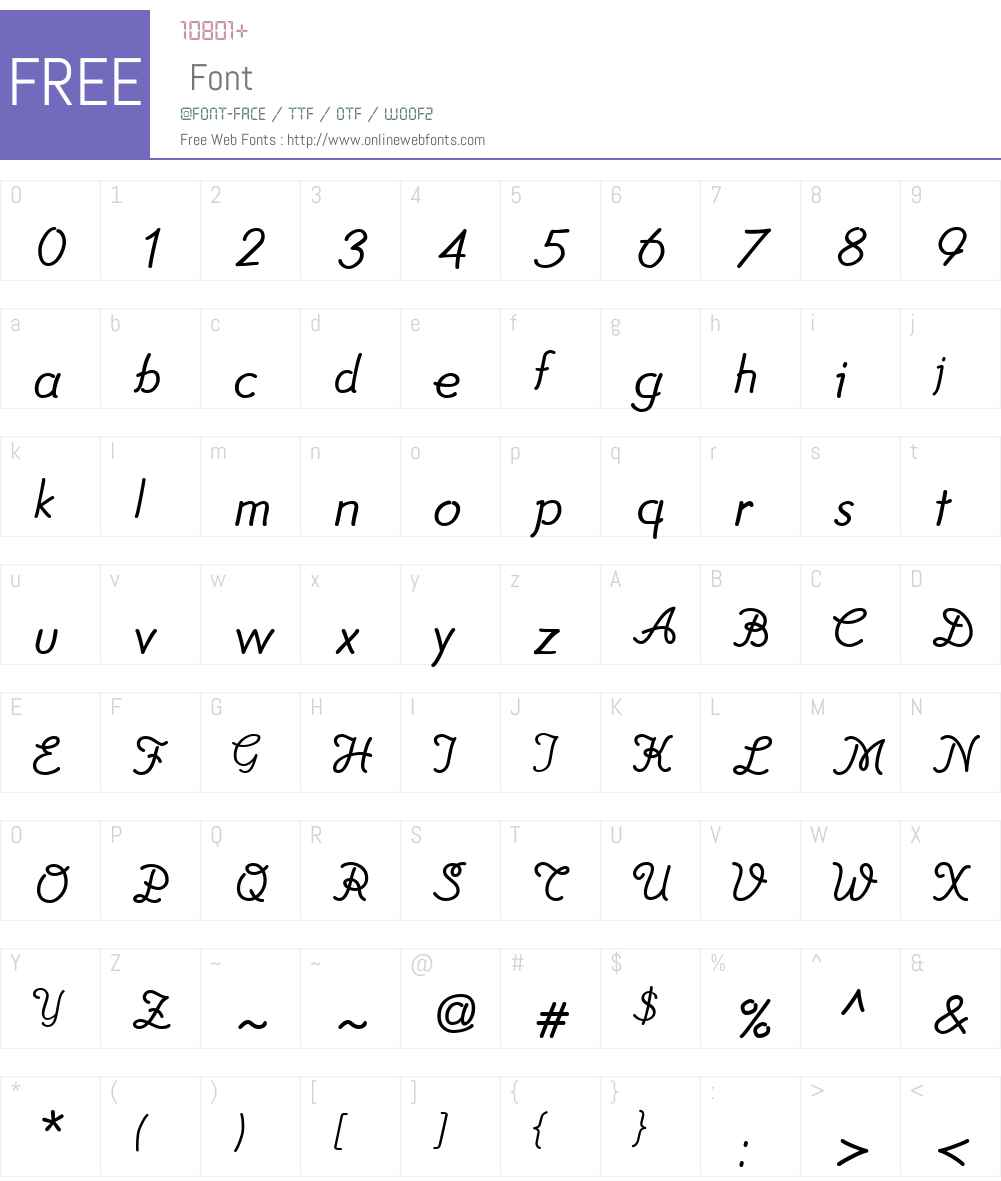 TamaraW01-Normal Font Screenshots