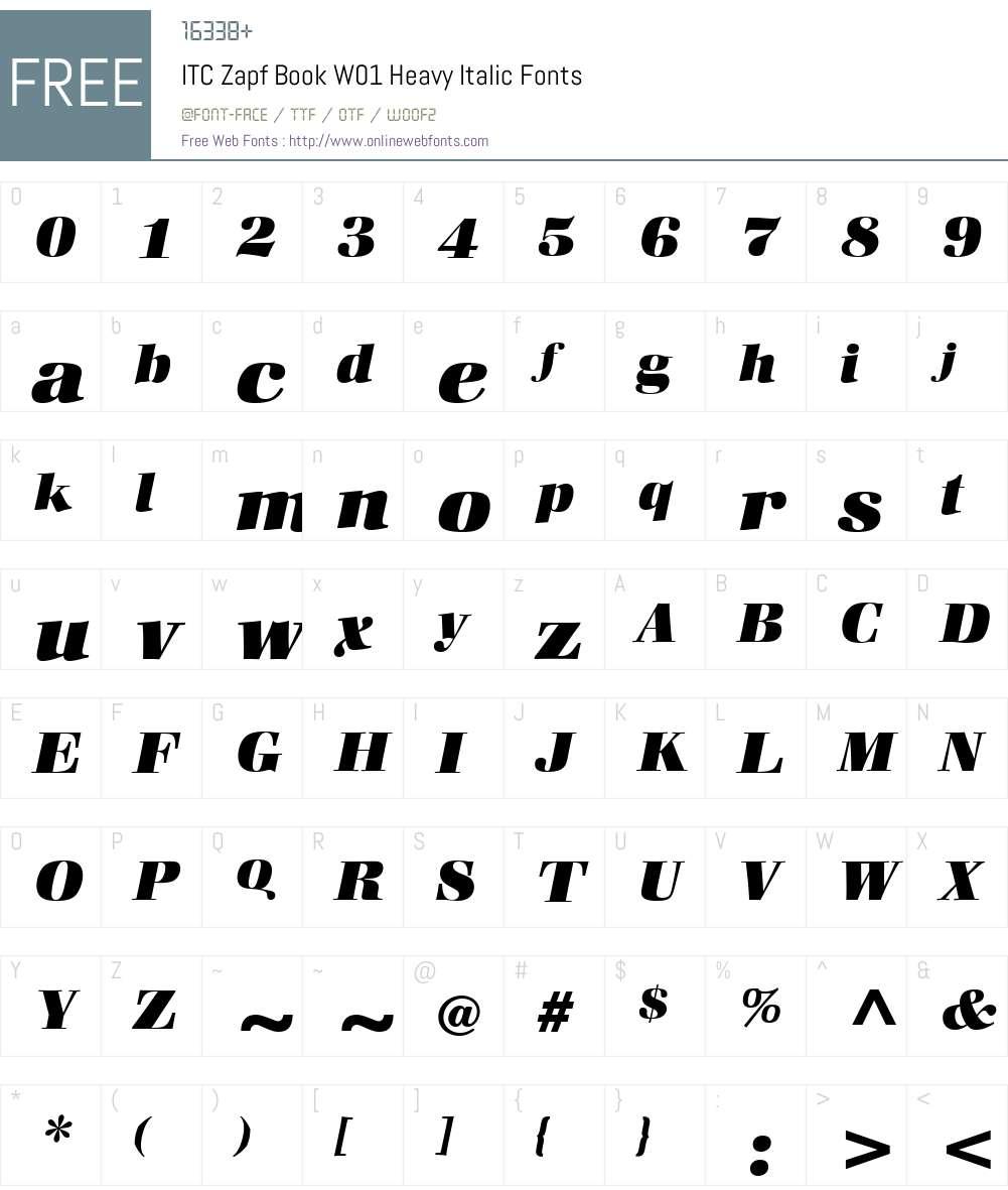 ITCZapfBookW01-HeavyItalic Font Screenshots