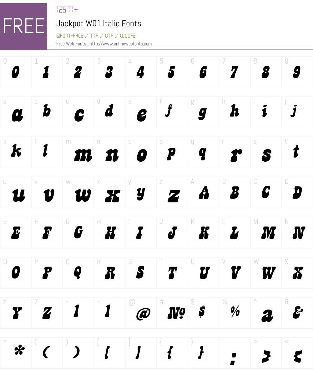 JackpotW01-Italic Font Screenshots