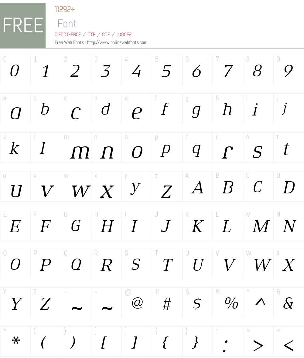 XenoisSerifW01-Italic Font Screenshots