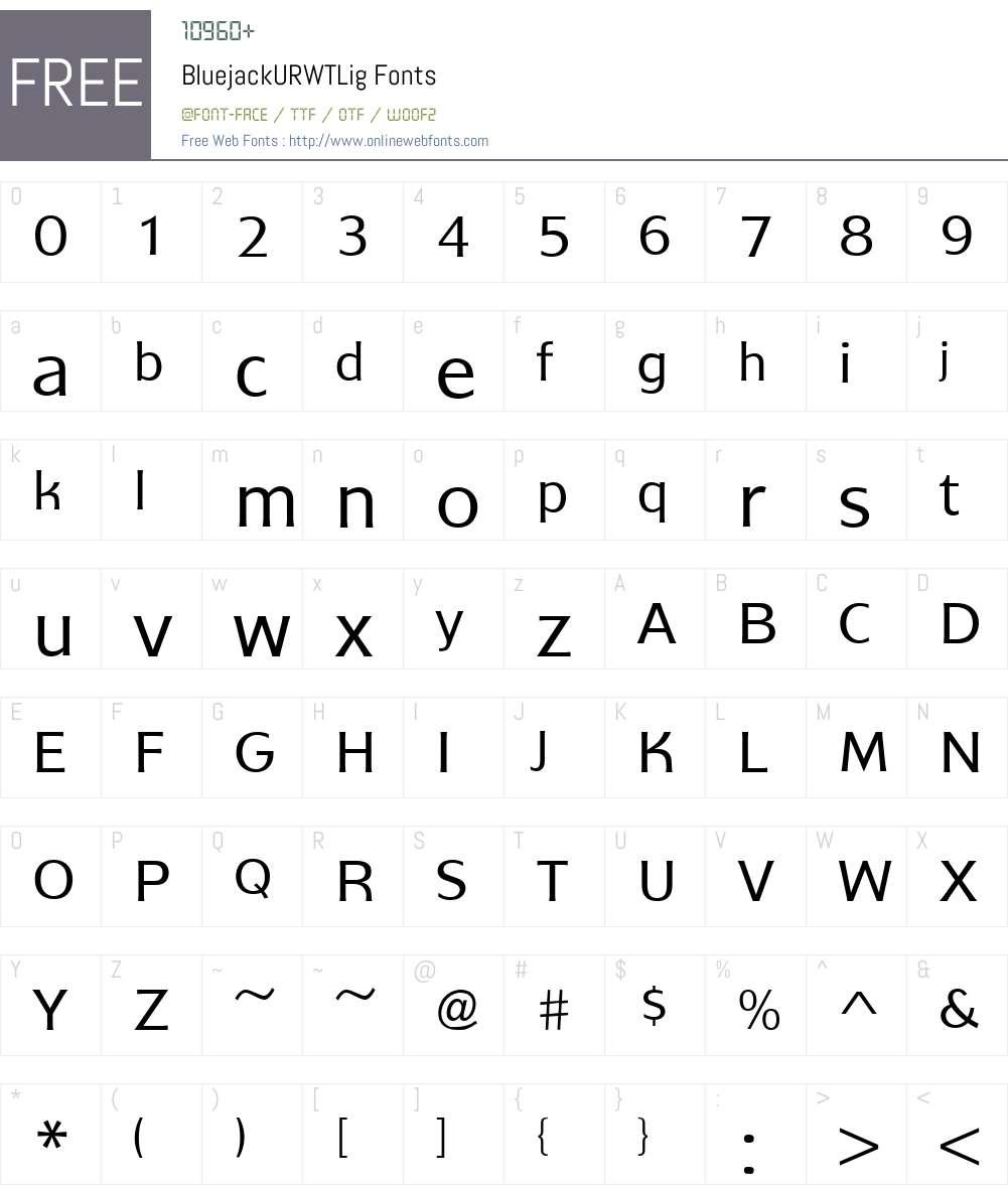 BluejackURWTLig Font Screenshots