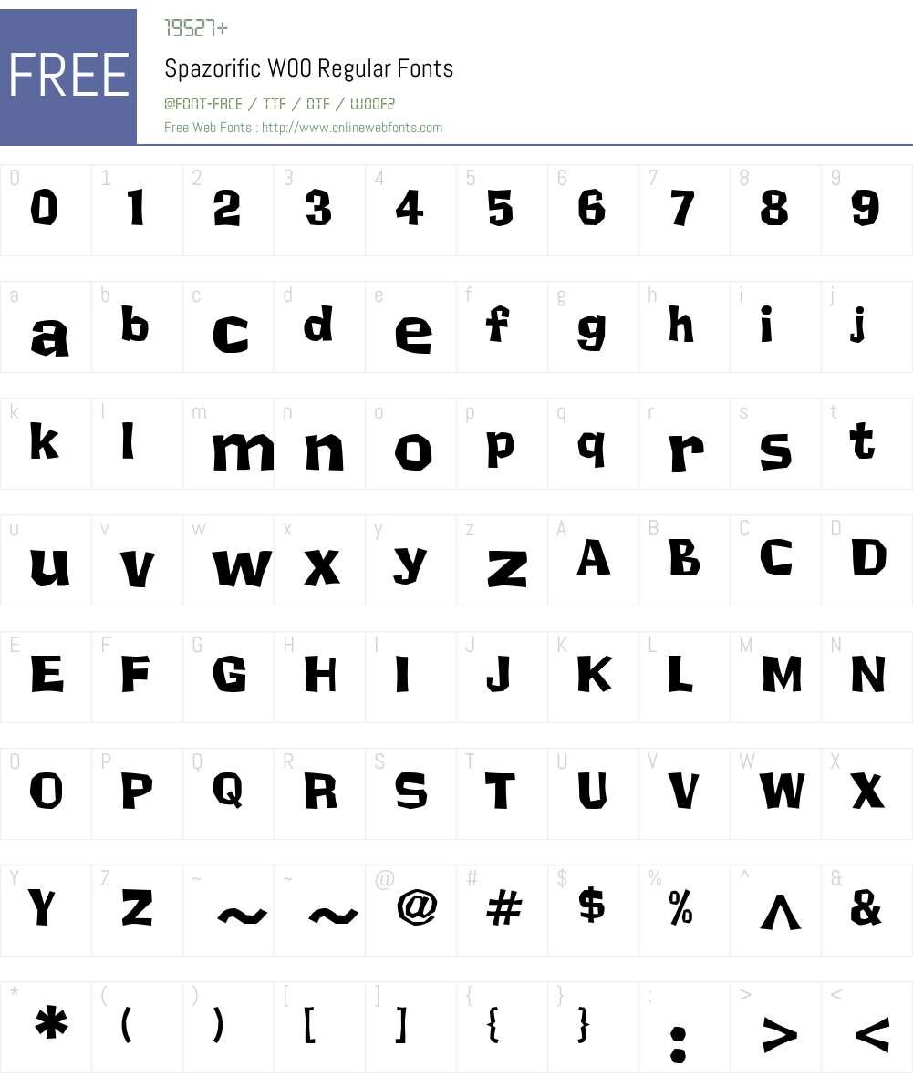 Spazorific Font Screenshots
