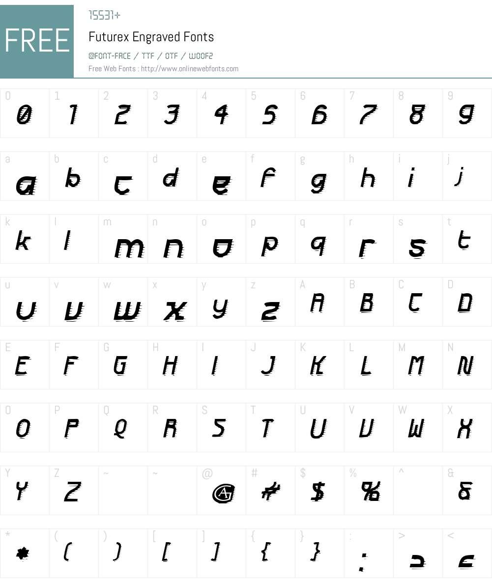 Futurex Engraved Font Screenshots