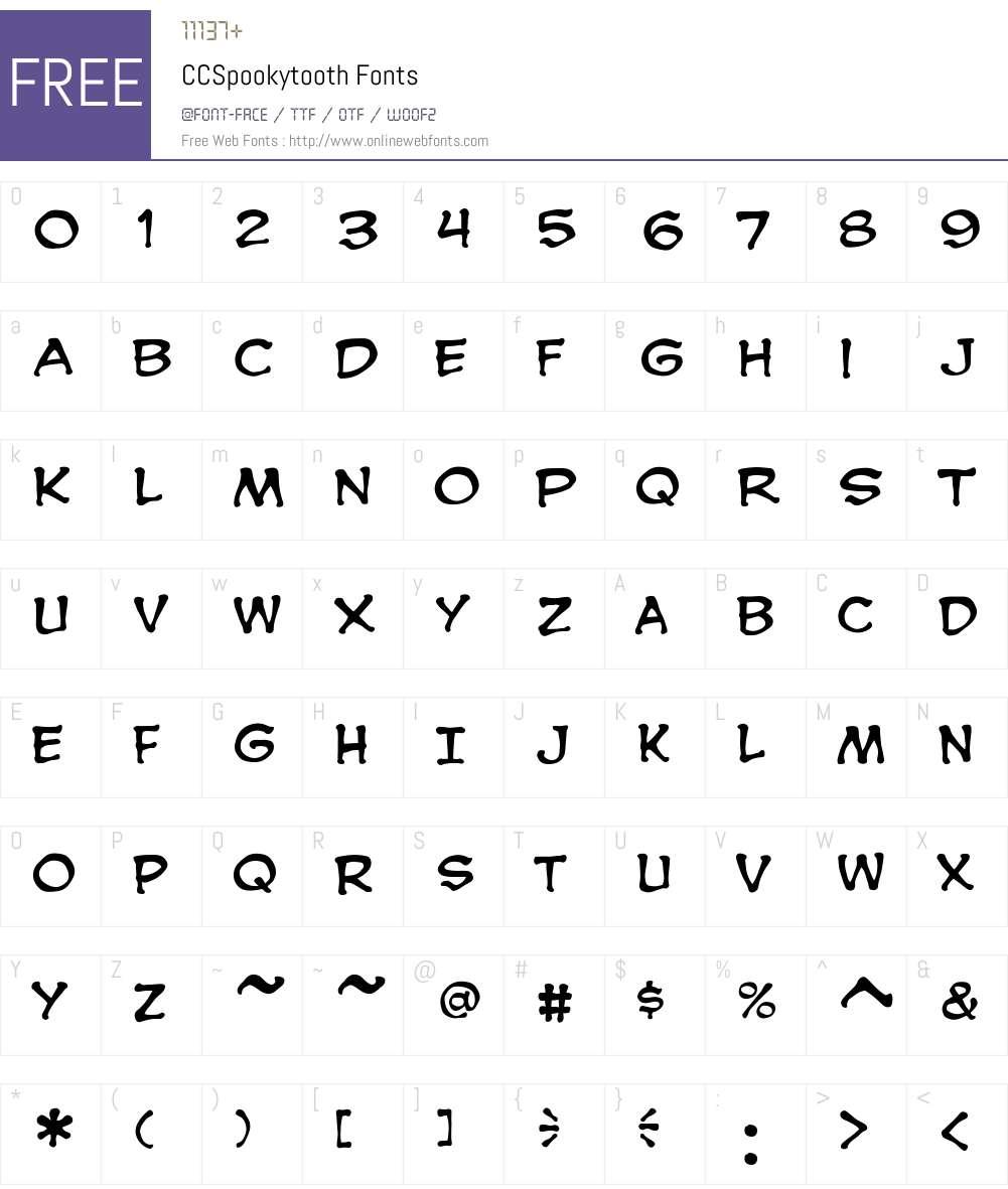 CCSpookytooth Font Screenshots
