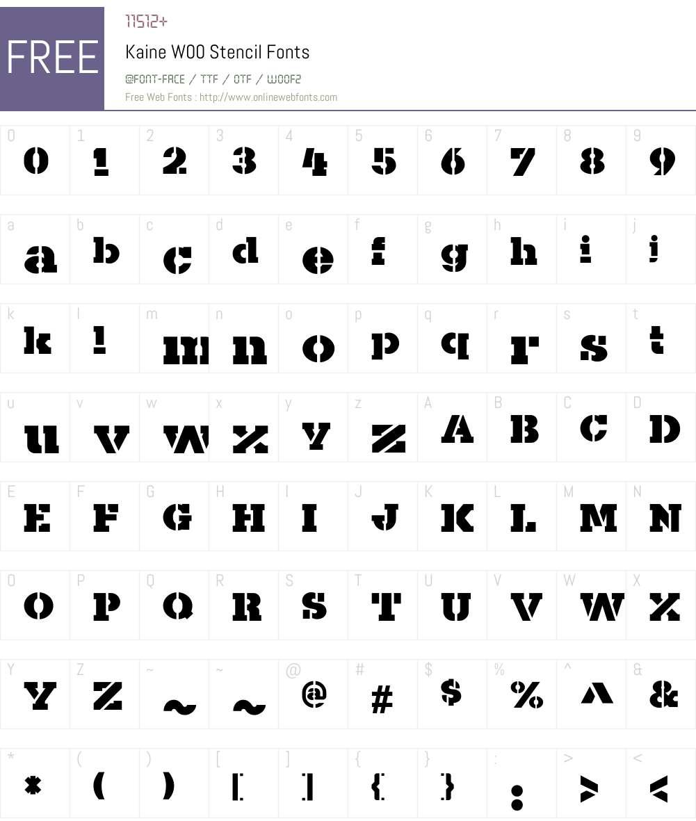 KaineW00-Stencil Font Screenshots