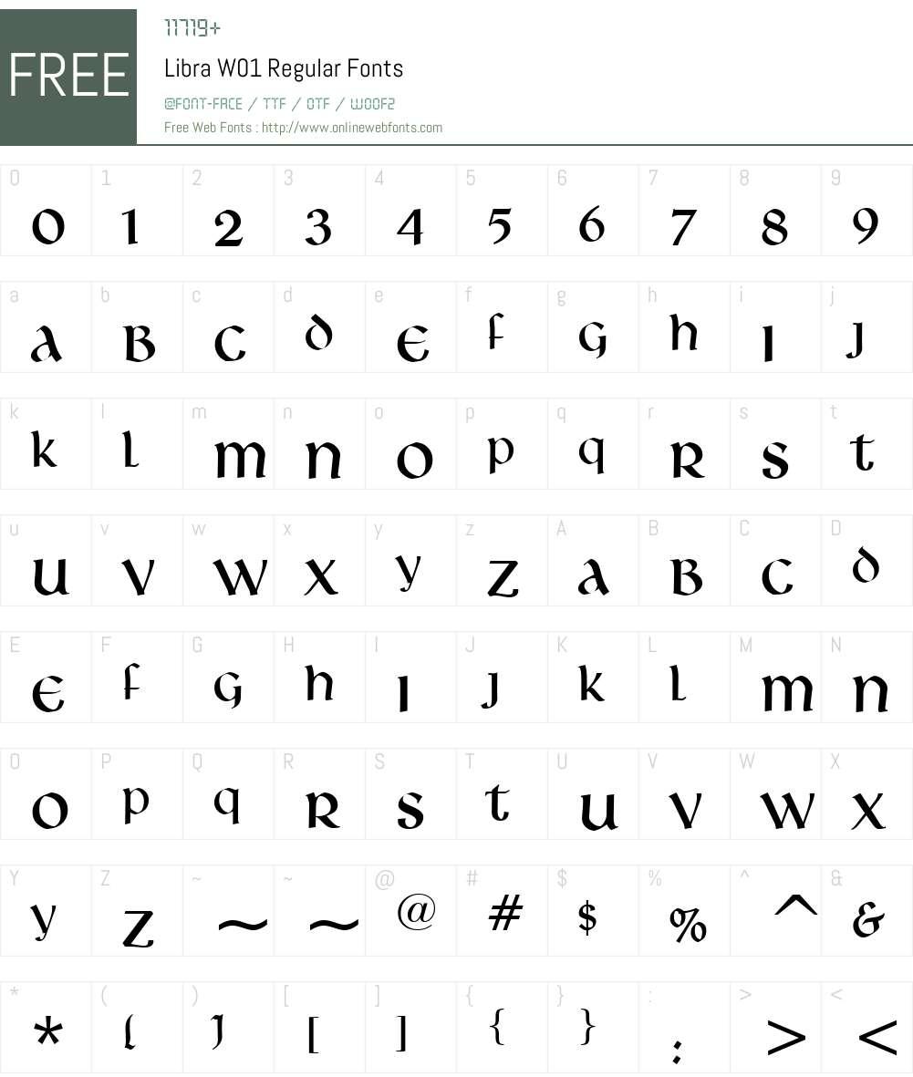 LibraW01-Regular Font Screenshots