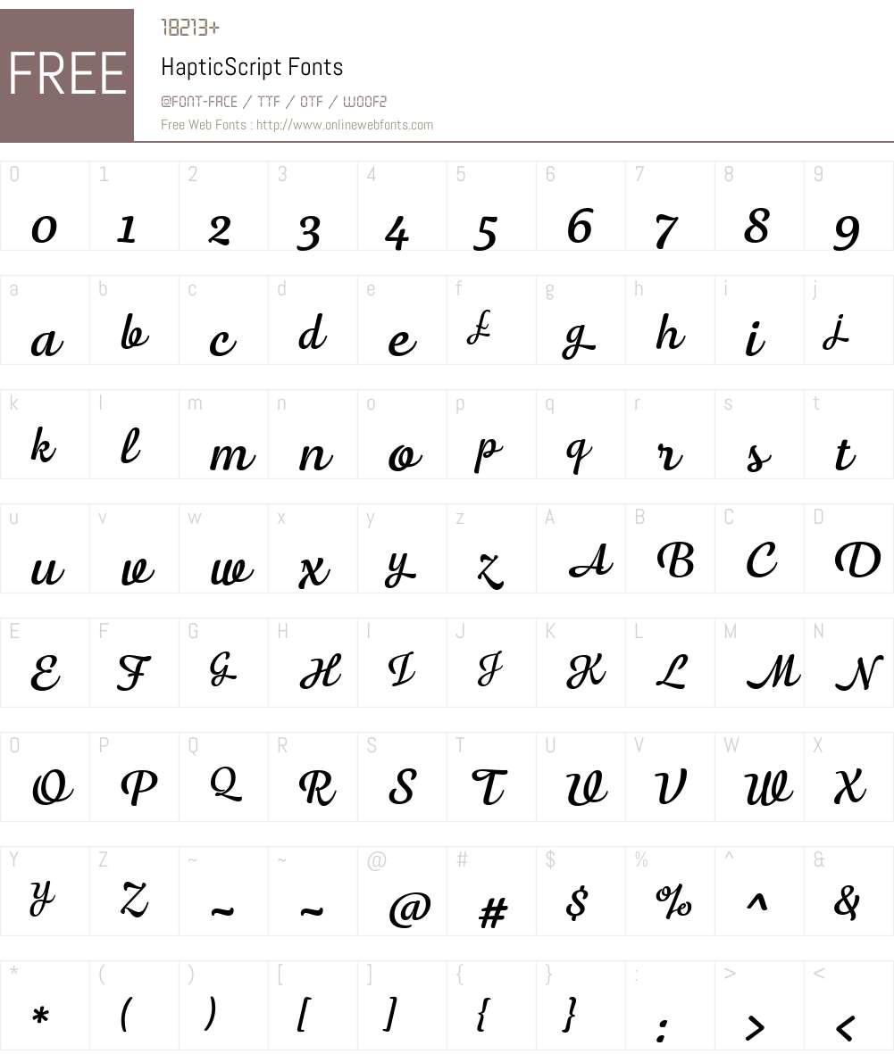 HapticScript-Regular Font Screenshots