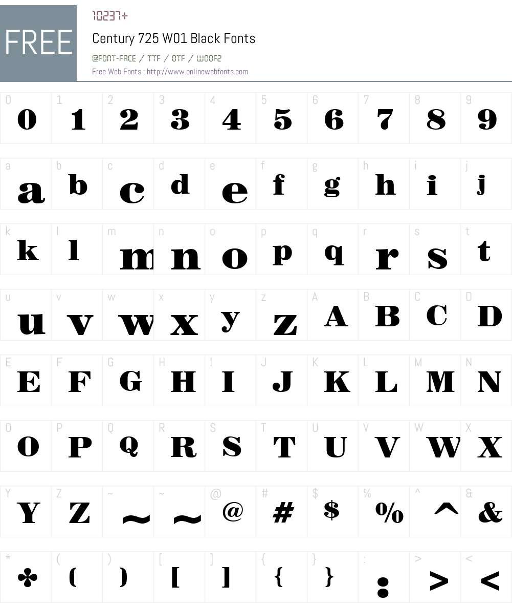 Century725W01-Black Font Screenshots