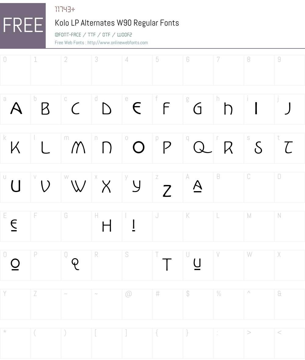 KoloLPAlternatesW90-Regular Font Screenshots