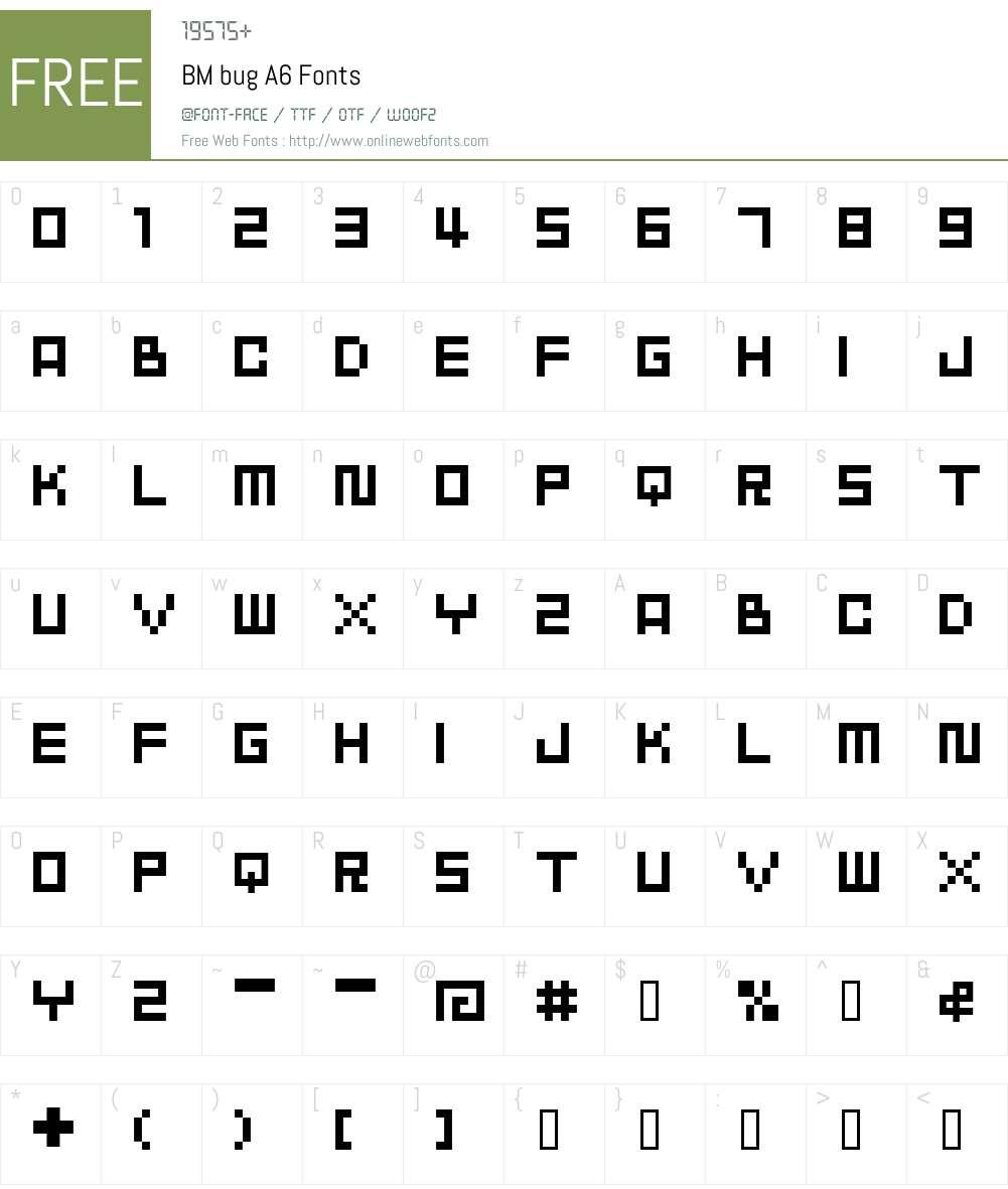 BM bug Font Screenshots