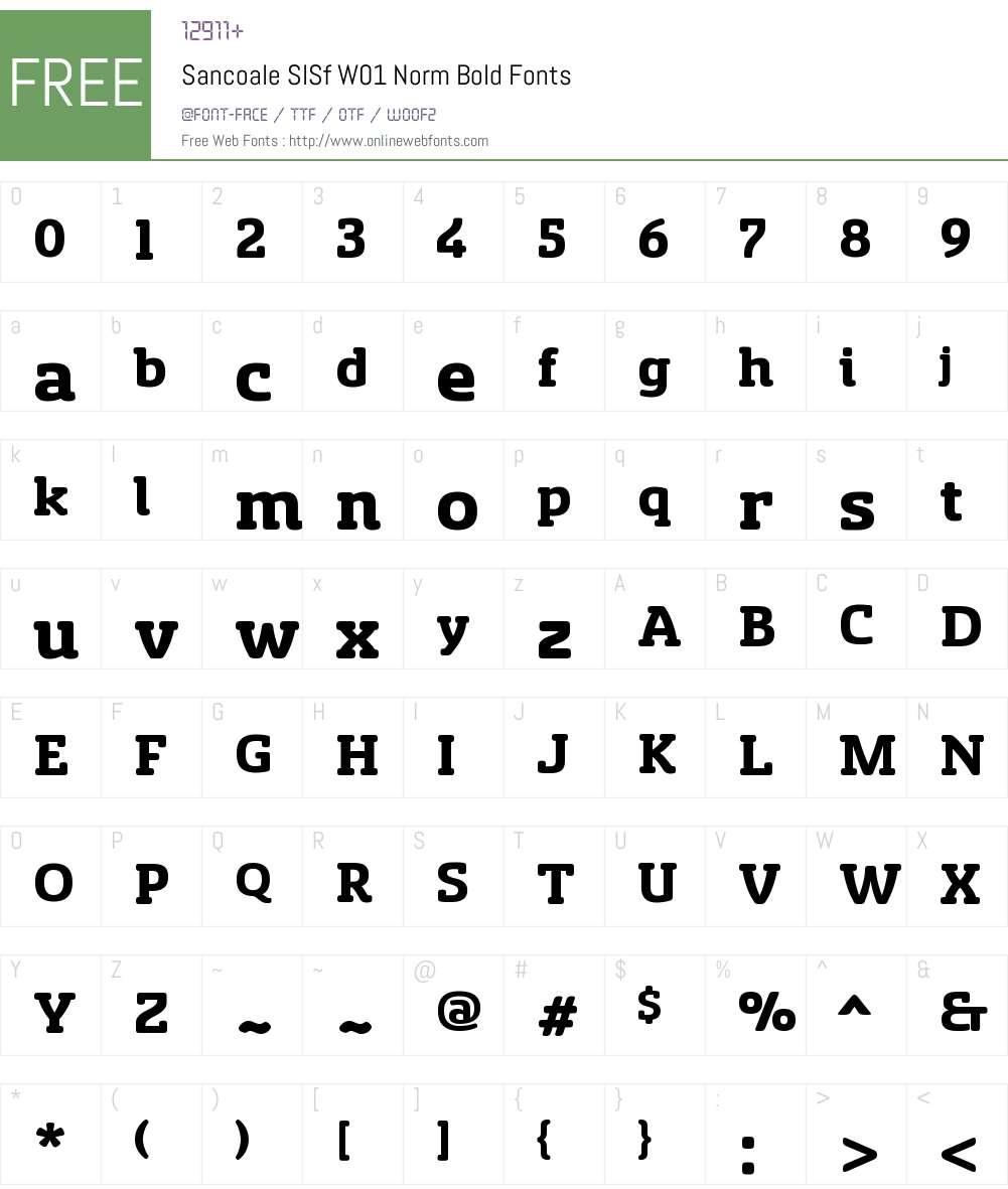SancoaleSlSfW01-NormBold Font Screenshots