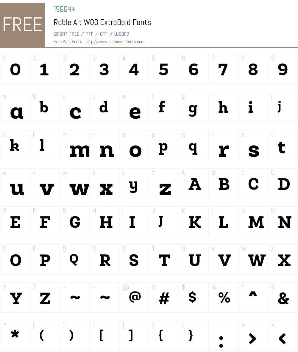 Roble Alt Font Screenshots
