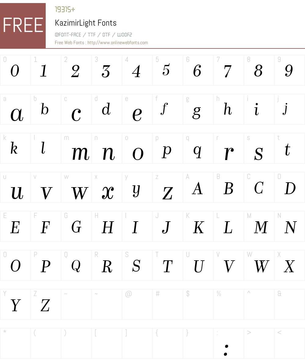 Kazimir Light Font Screenshots