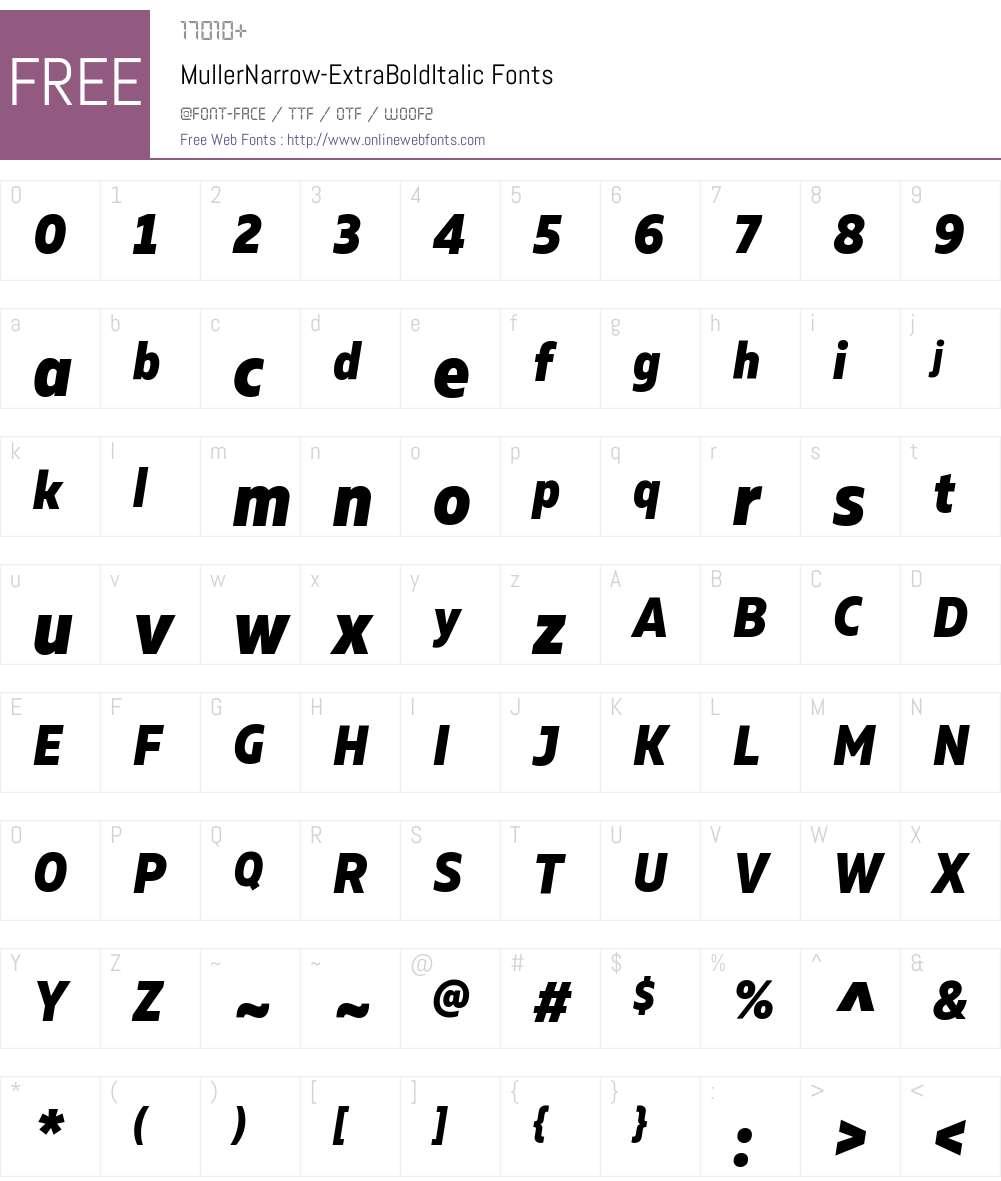 Muller Narrow ExtraBold Italic Font Screenshots