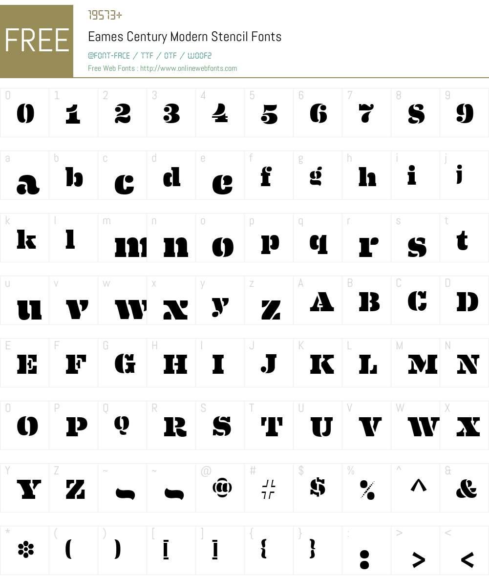Eames Century Modern Sten Font Screenshots