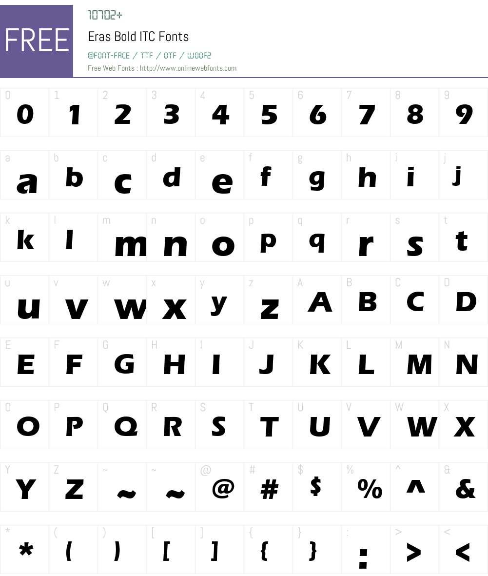 Eras Bold ITC Font Screenshots