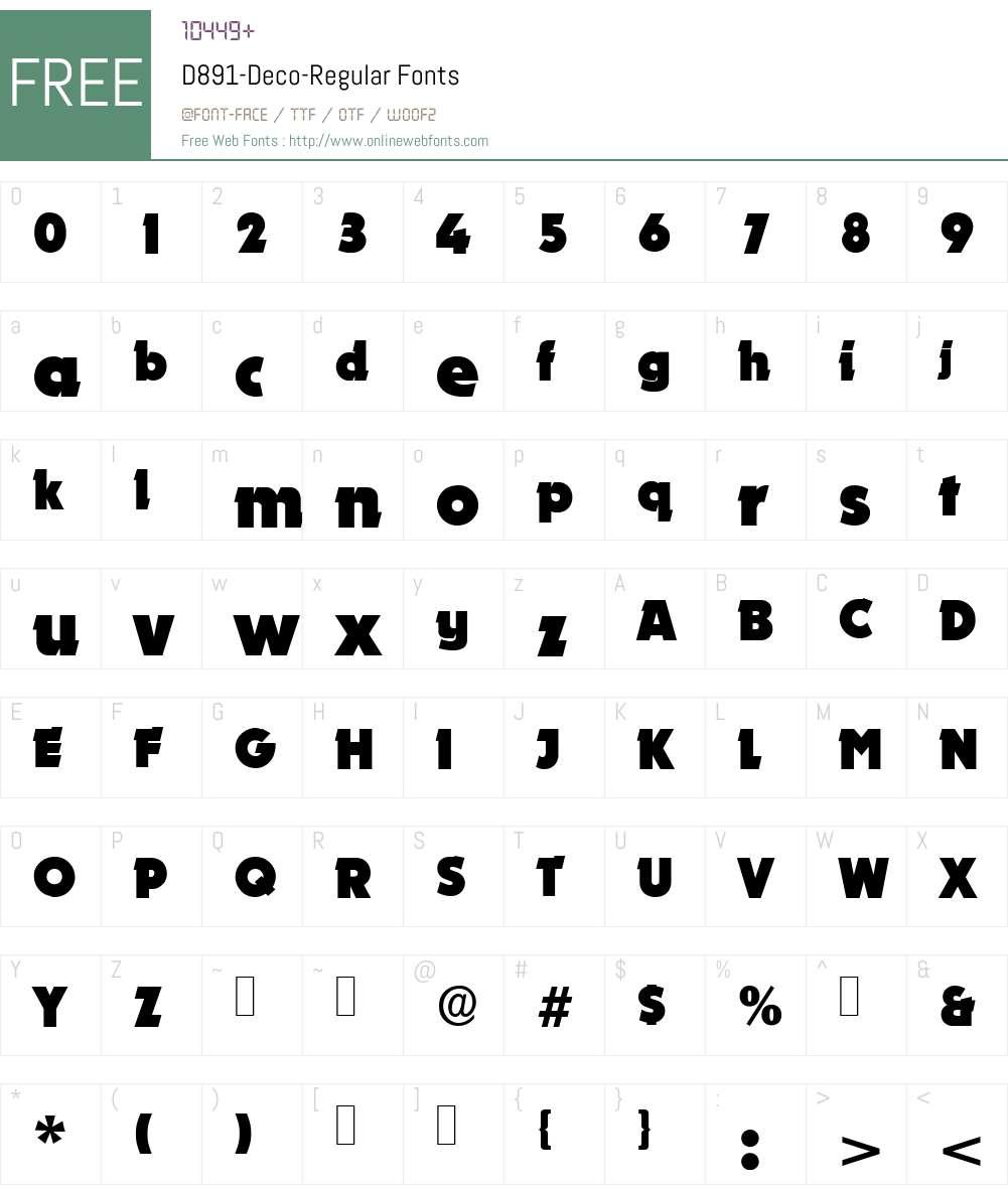 D891-Deco Font Screenshots