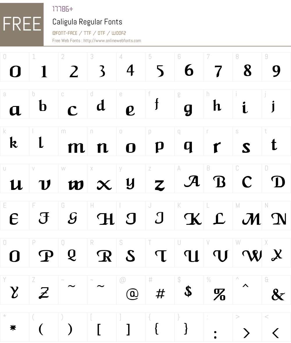 Caligula Font Screenshots