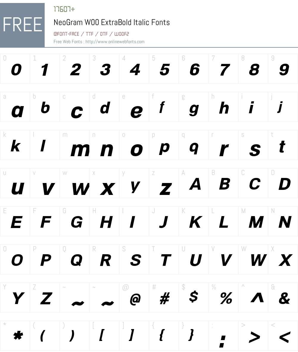 NeoGramW00-ExtraBoldItalic Font Screenshots
