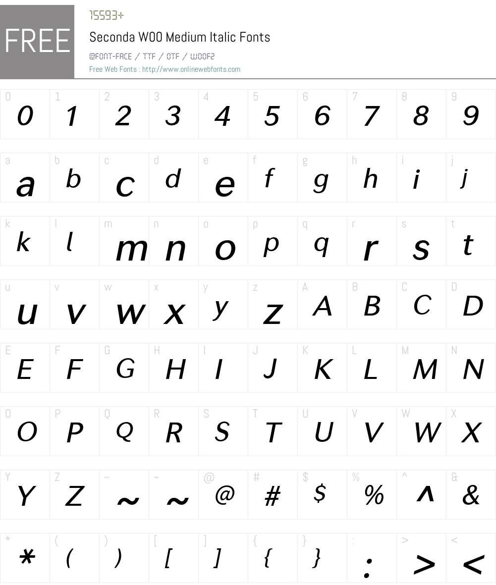 SecondaW00-MediumItalic Font Screenshots