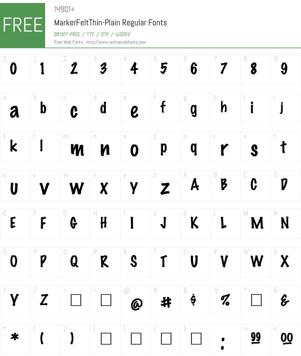 MarkerFeltThin-Plain Font Screenshots