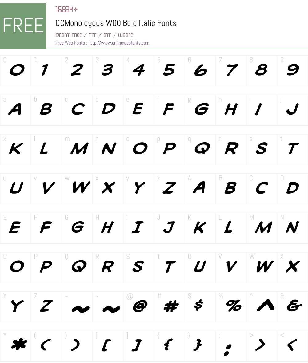 CCMonologousW00-BoldItalic Font Screenshots