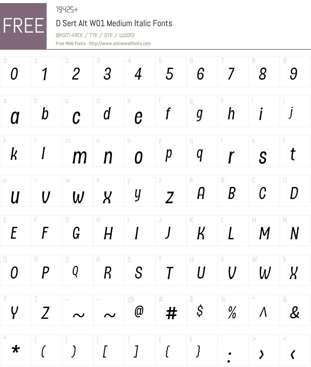 DSertAltW01-MediumItalic Font Screenshots