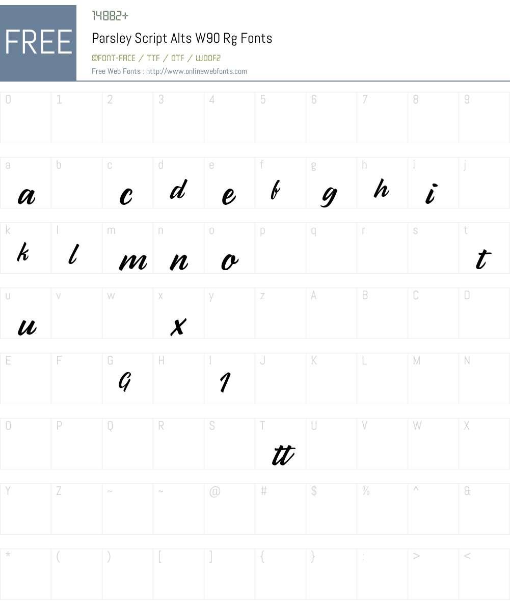 ParsleyScriptAltsW90-Rg Font Screenshots