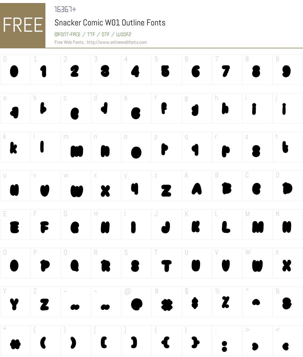 SnackerComicW01-Outline Font Screenshots