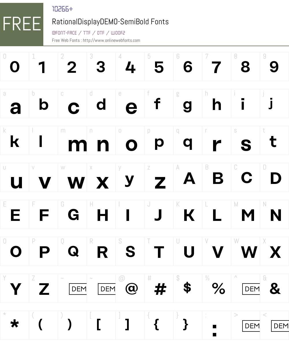 Rational Display DEMO SemiBold Font Screenshots