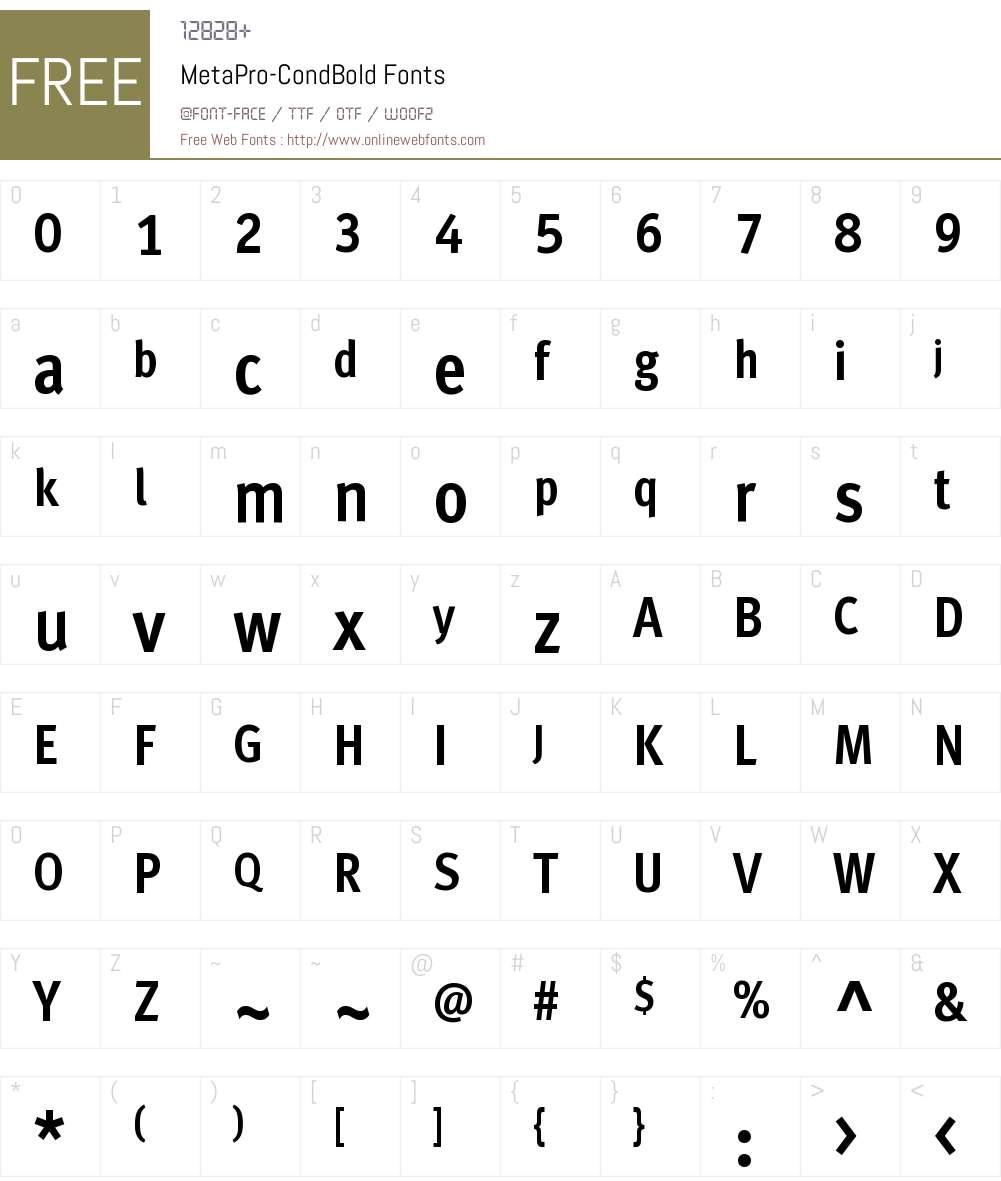 MetaPro-CondBold Font Screenshots