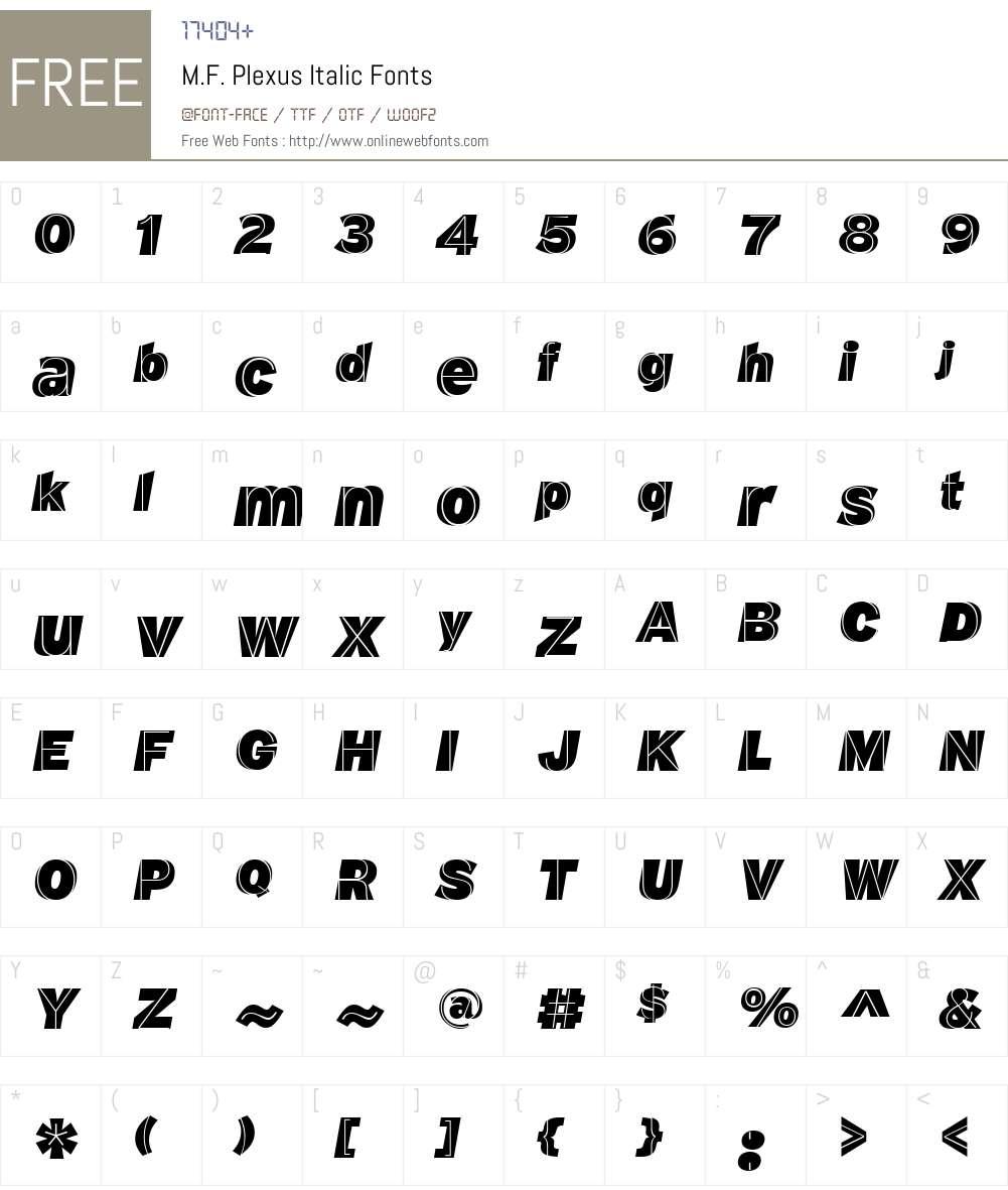 M.F. Plexus Italic Font Screenshots