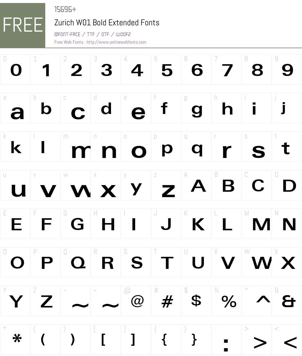 ZurichW01-BoldExtended Font Screenshots