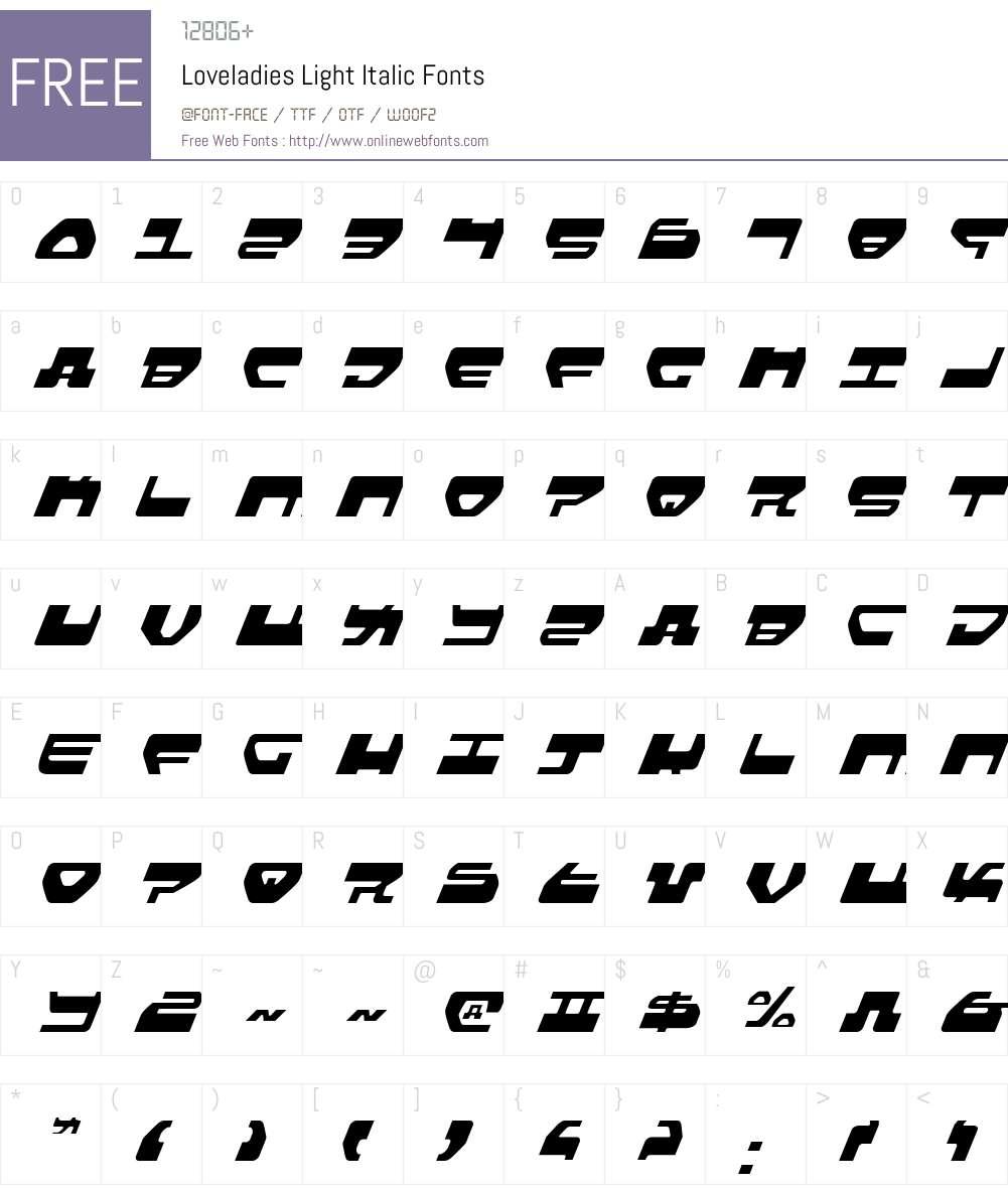 Loveladies Light Italic Font Screenshots