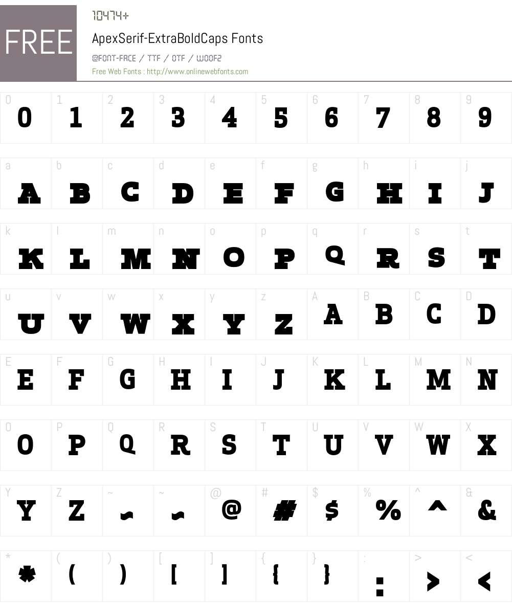 Apex Serif Extra Bold Caps Font Screenshots