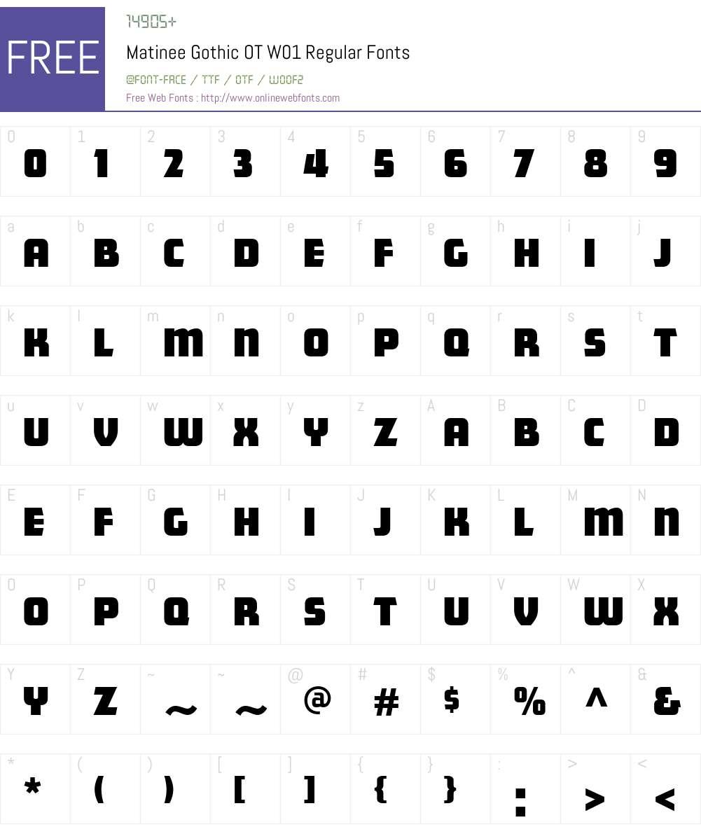 FF Matinee Gothic Font Screenshots
