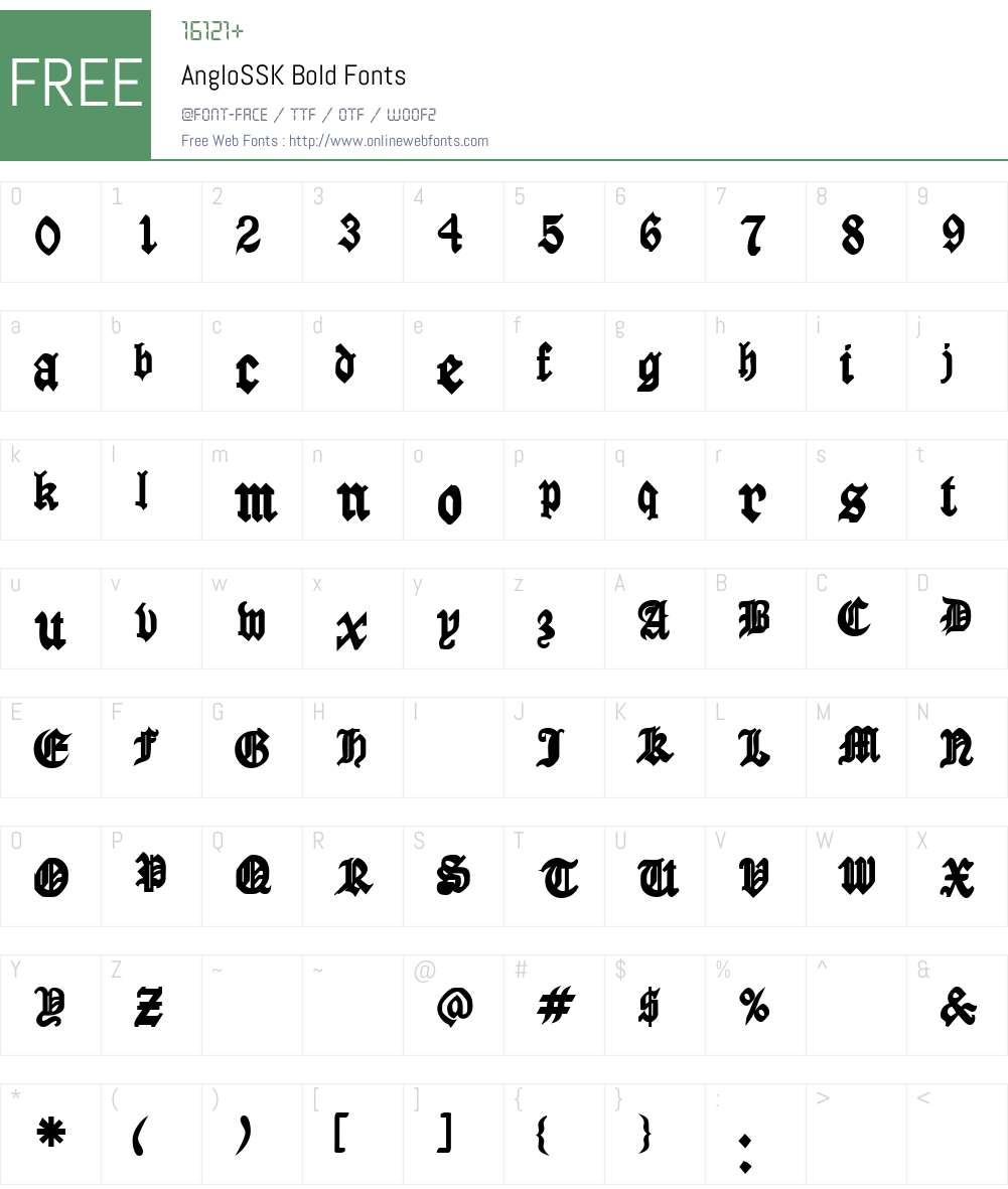 AngloSSK Font Screenshots