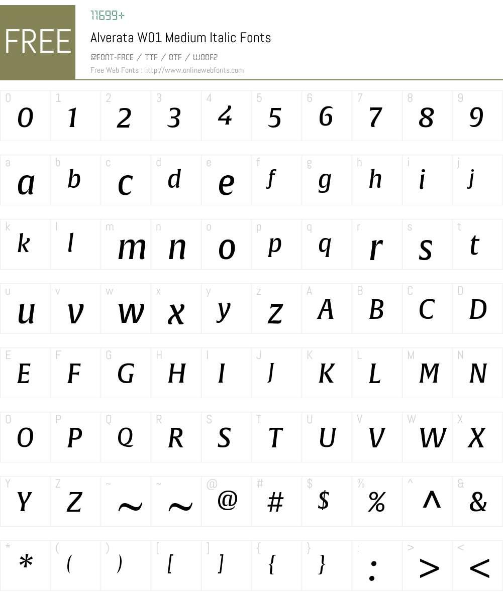 AlverataW01-MediumItalic Font Screenshots