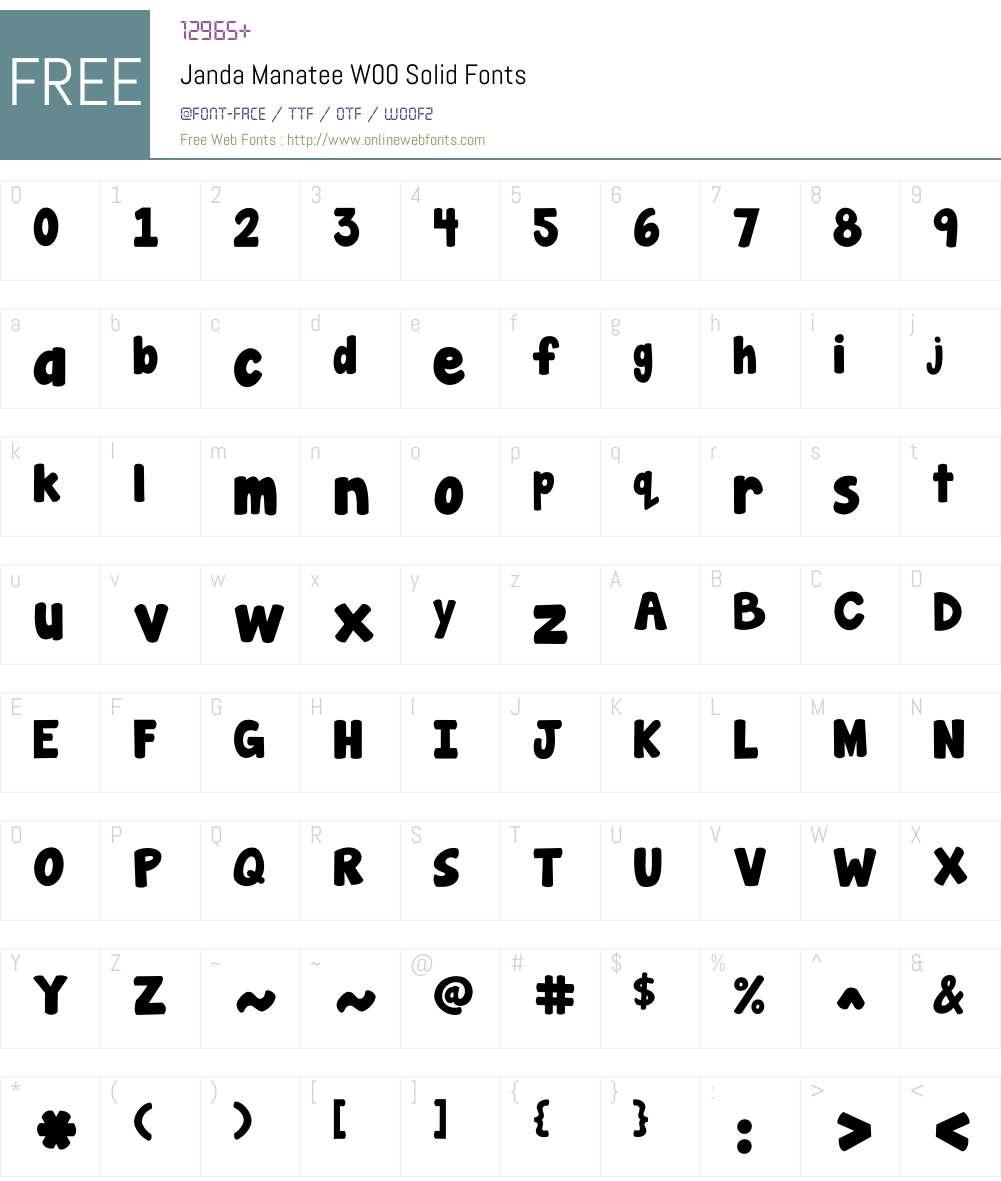 JandaManateeW00-Solid Font Screenshots