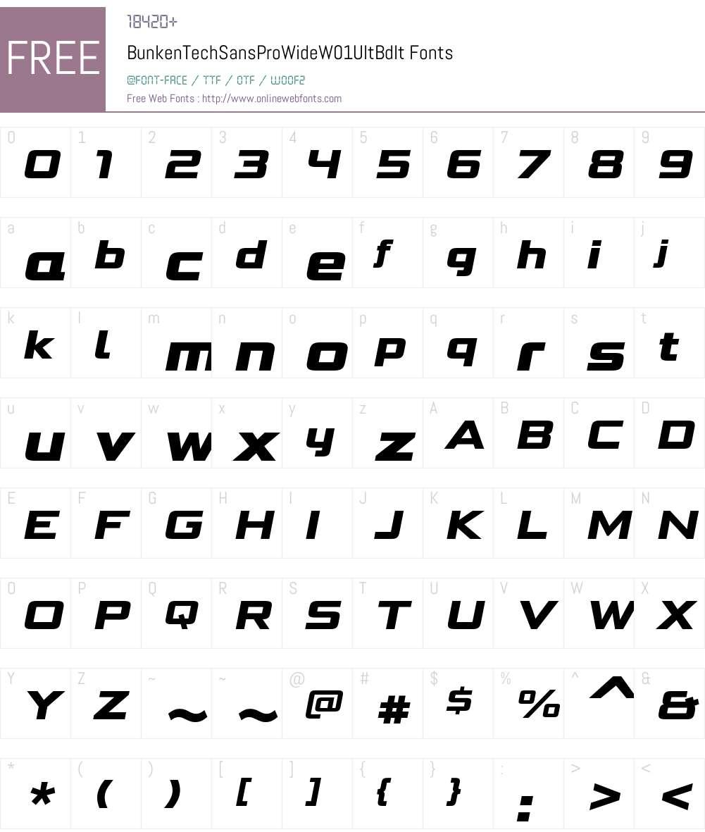 BunkenTechSansProWideW01-UltBdIt Font Screenshots