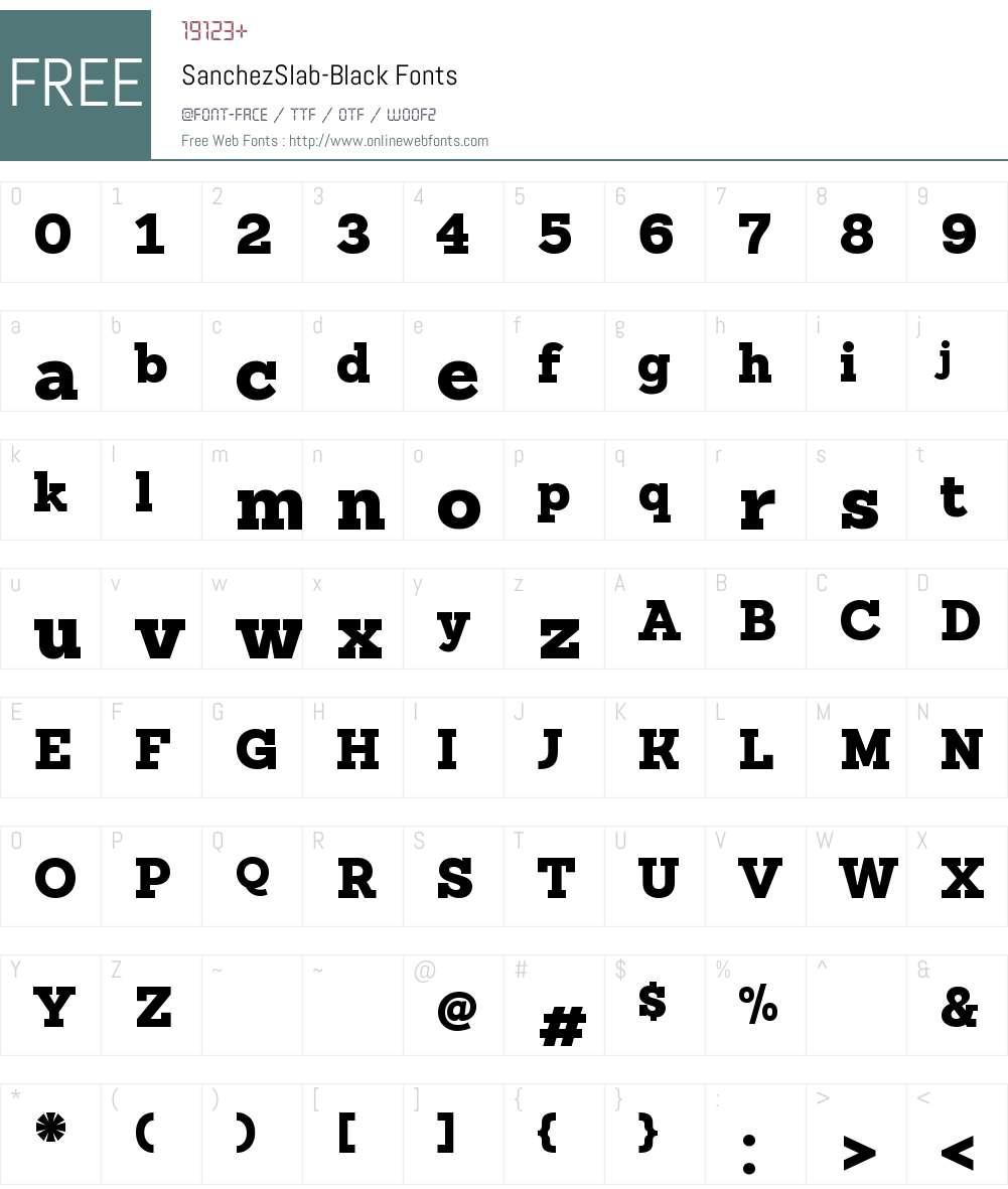 Sanchez Slab Font Screenshots