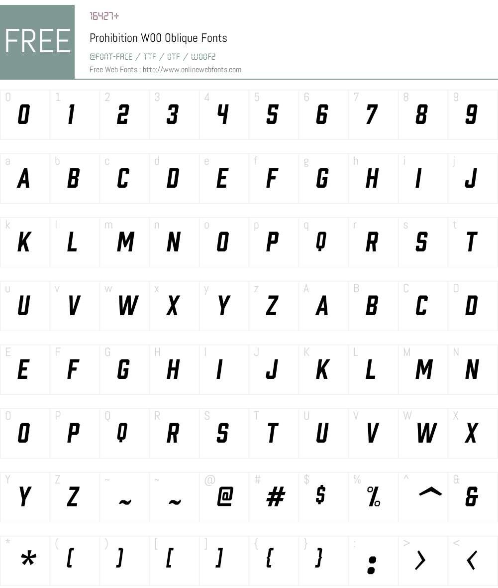 ProhibitionW00-Oblique Font Screenshots