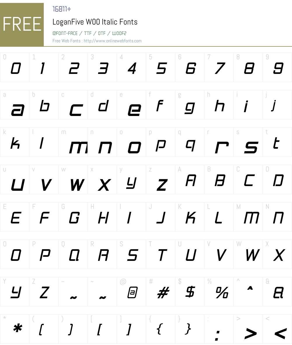 LoganFiveW00-Italic Font Screenshots