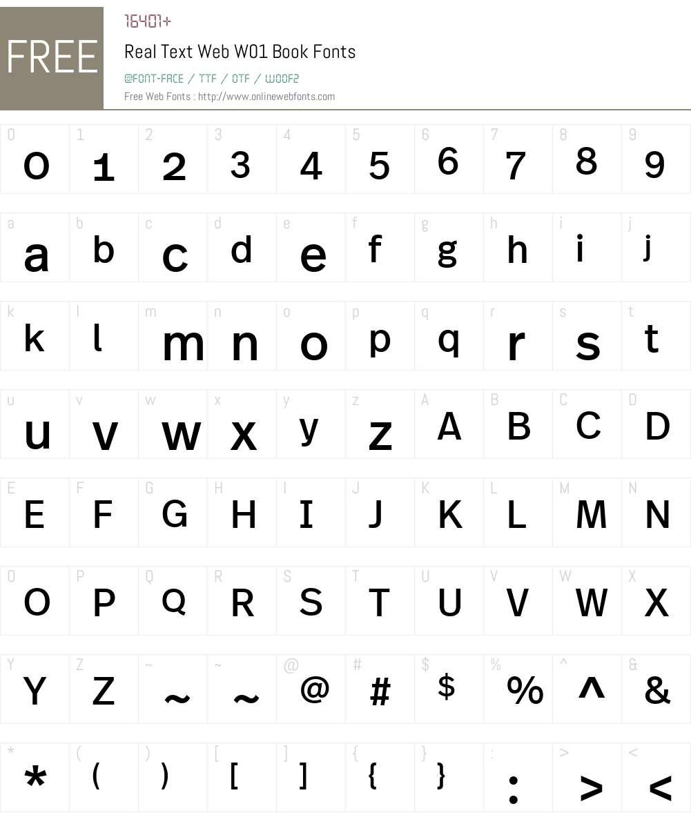 RealTextWebW01-Book Font Screenshots