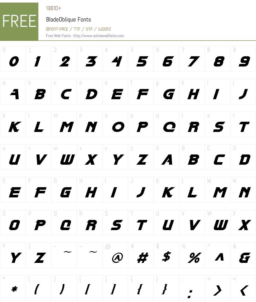 BladeOblique Font Screenshots