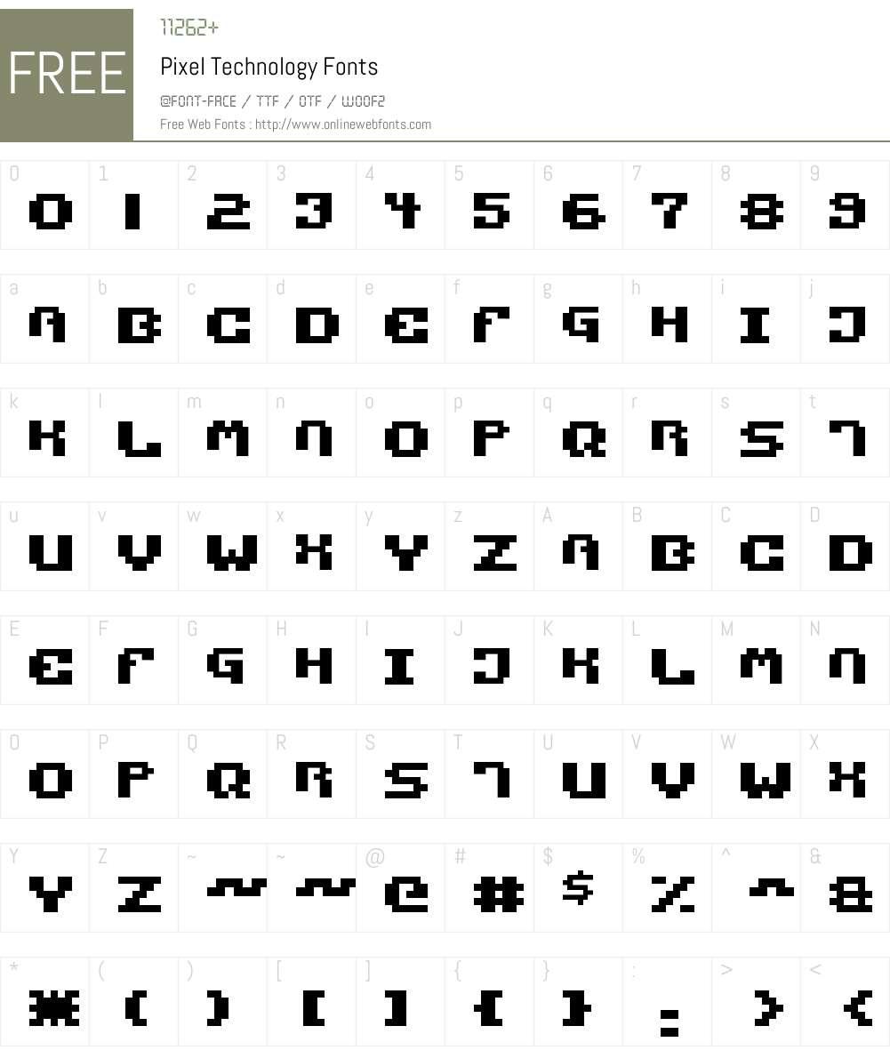 Pixel Technology Font Screenshots