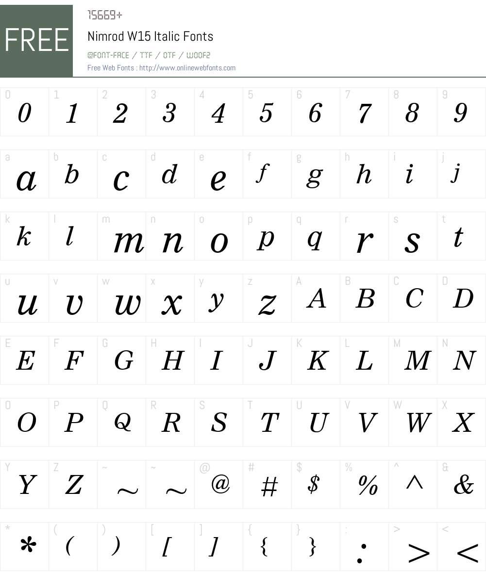 NimrodW15-Italic Font Screenshots