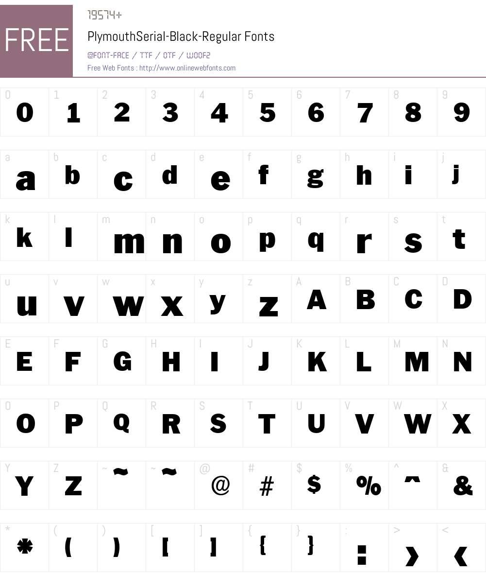 PlymouthSerial-Black Font Screenshots