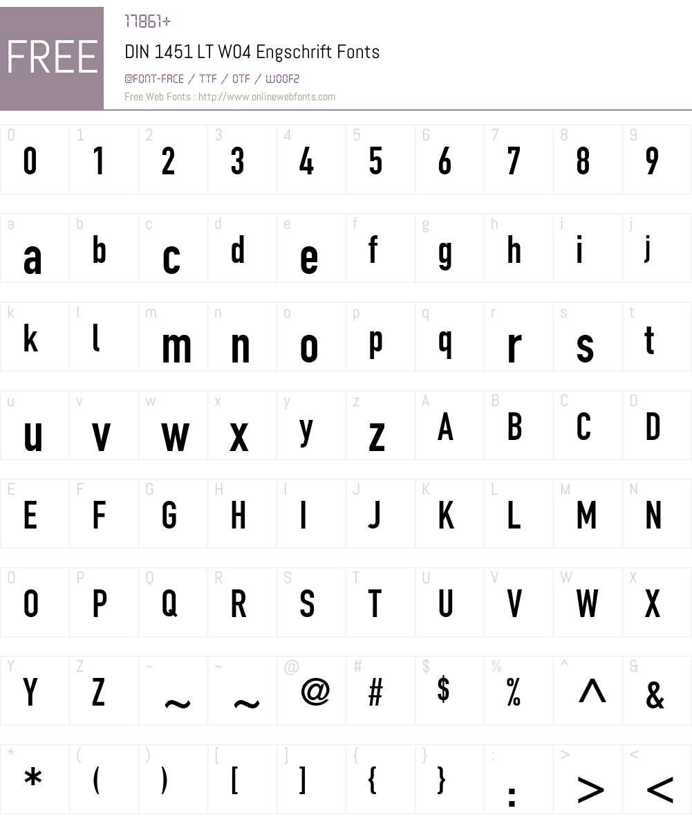 DIN 1451 Font Screenshots